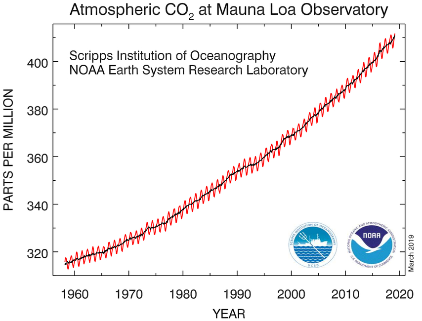 CO2 over 50 years